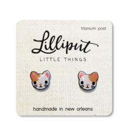 Cute Kitty Cat Earrings - White with Brown Spot