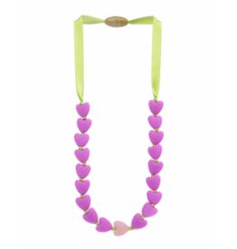 Juniorbeads Spring Heart Necklace - Fuchsia