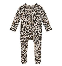Lana Leopard Tan Footie Ruffled Zippered One Piece