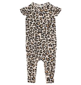 Lana Leopard Tan Ruffled Cap Sleeve Romper
