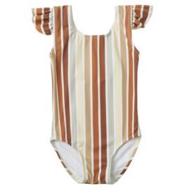 Multi Stripe Frill Baby One Piece