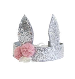 Sequin Bunny Crown Silver