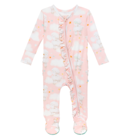 Mary Ruffled Footie Zippered One Piece