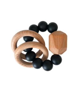 Hayes Silicone + Wood Teether - Black