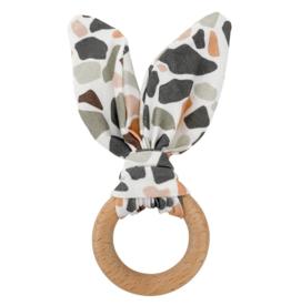 Crinkle Bunny Ears Teether - Terrazzo
