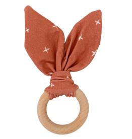 Crinkle Bunny Ears Teether - Rust