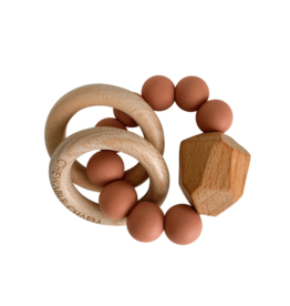 Hayes Silicone + Wood Teether - Zion Sand