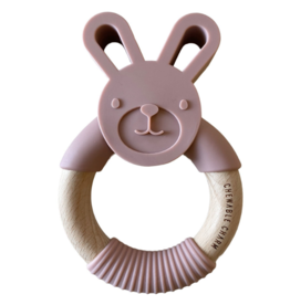 Bunny Silicone + Wood Teether - Rose