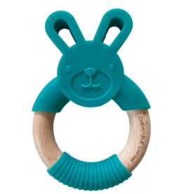 Bunny Silicone + wood Teether - Teal