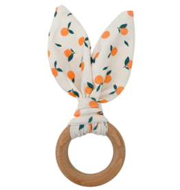 Crinkle Bunny Ears Teether - Clementine