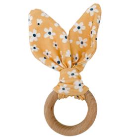 Crinkle Bunny Ears Teether - Golden Daisy