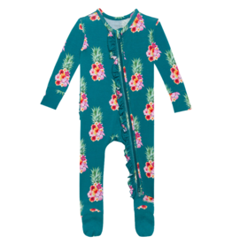 Ananans Footie Ruffled Zippered One Piece
