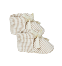 Ribbed Baby Booties - Ash-Stripe