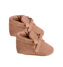 Ribbed Baby Booties - Terracotta