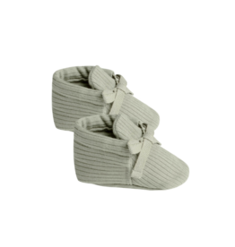 Ribbed Baby Booties - Sage