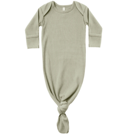 Ribbed Knot Baby Gown - Sage