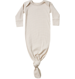Ribbed Knot Baby Gown - Ash-Stripe