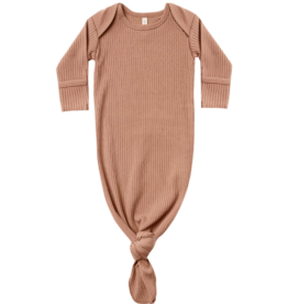 Ribbed Knot Baby Gown - Terracotta