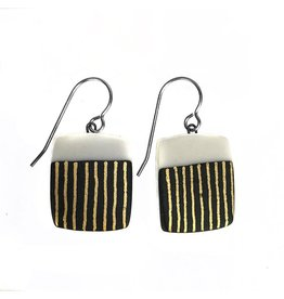 Black and White Laminated Porcelain with Gold Luster