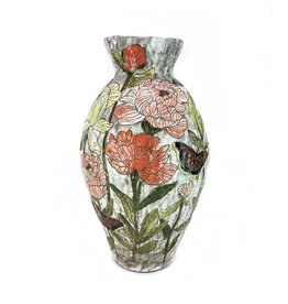 Peony and Mourning Cloak Vase