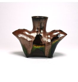 Liz Quackenbush Double Spouted Vase, form by Liz Quackenbush, glaze by Lisa Orr