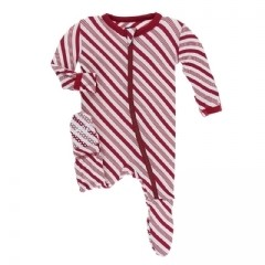 Kickee Pants Candy Cane Stripe Zipper Coverall