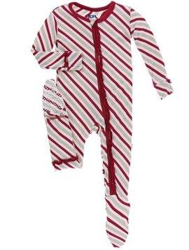 Kickee Pants Candy Cane Stripe Zipper Ruffle Coverall