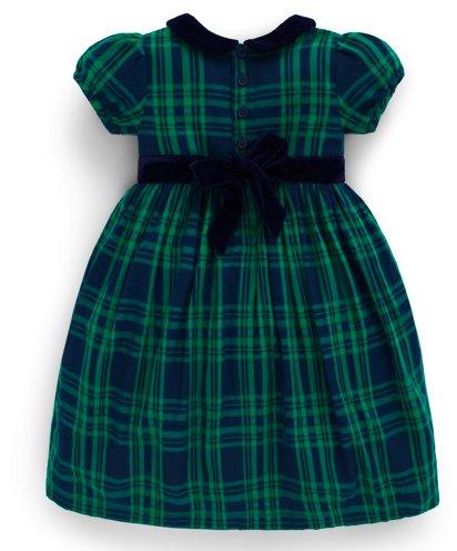 JoJo Maman Bebe Smocked Navy Plaid Party Dress