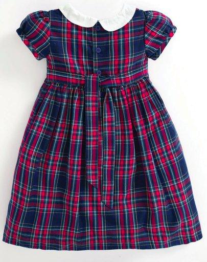 JoJo Maman Bebe Smocked Tartan Party Dress