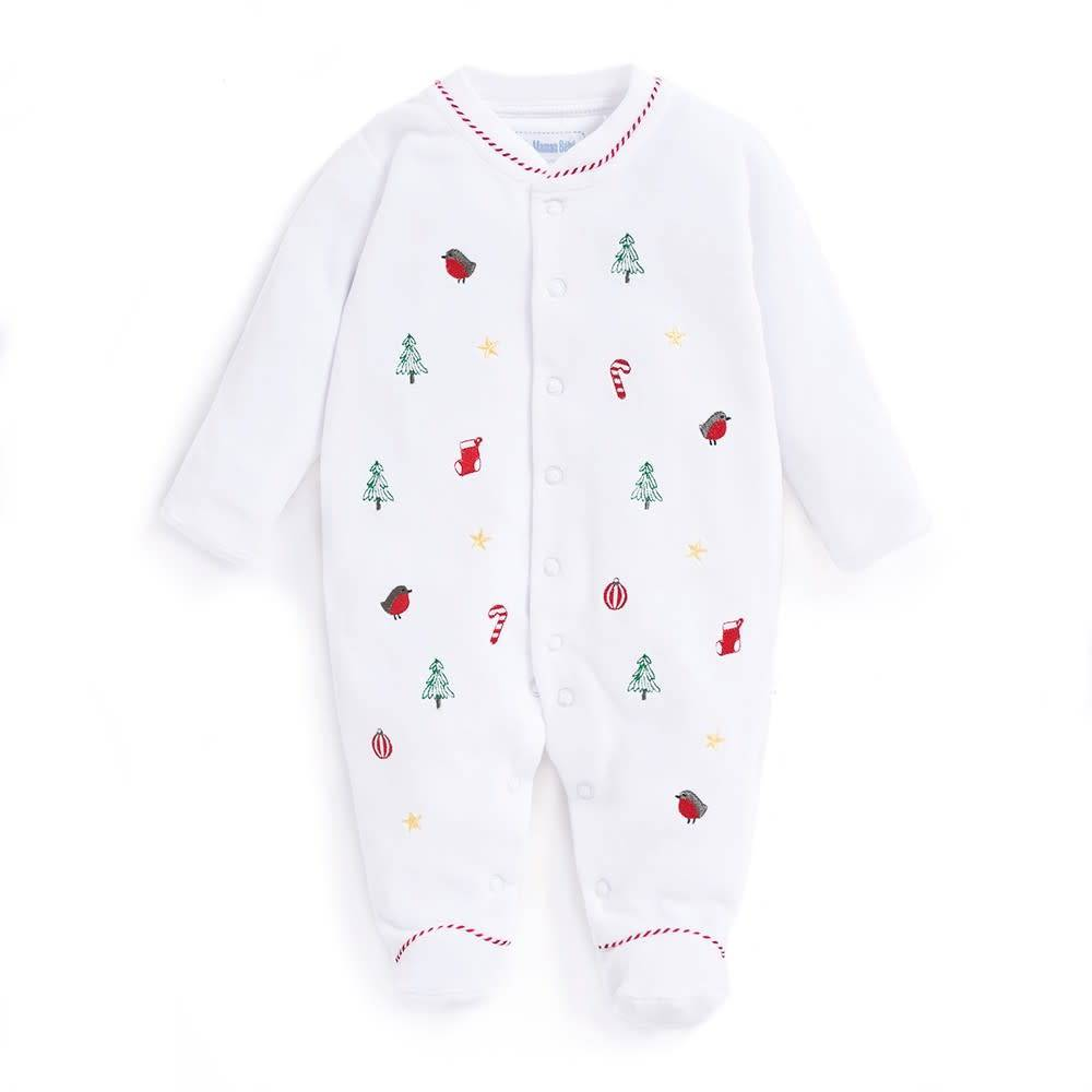 JoJo Maman Bebe Christmas Embroidered Sleepsuit