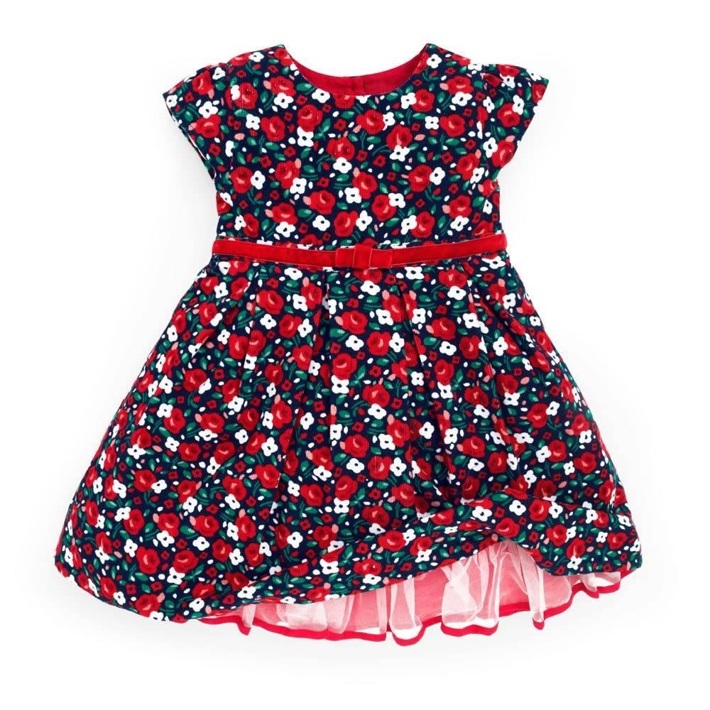 JoJo Maman Bebe Floral Corduroy Party Dress