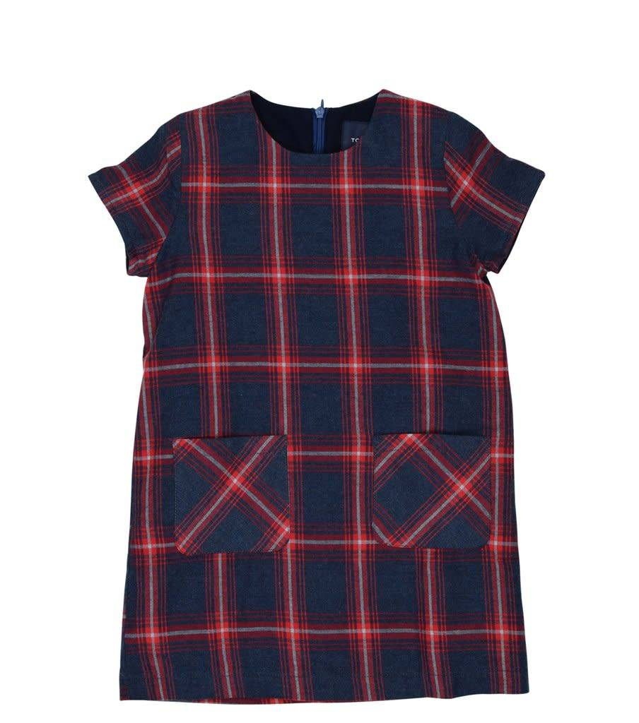 toobydoo Navy/Red Plaid Woven Shift Dress