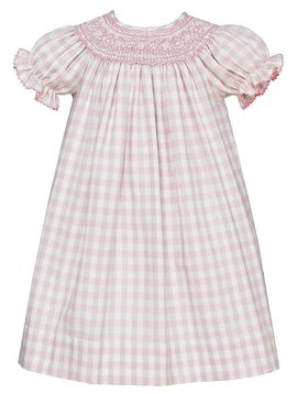 Anavini Short Sleeve Pink Plaid Bishop