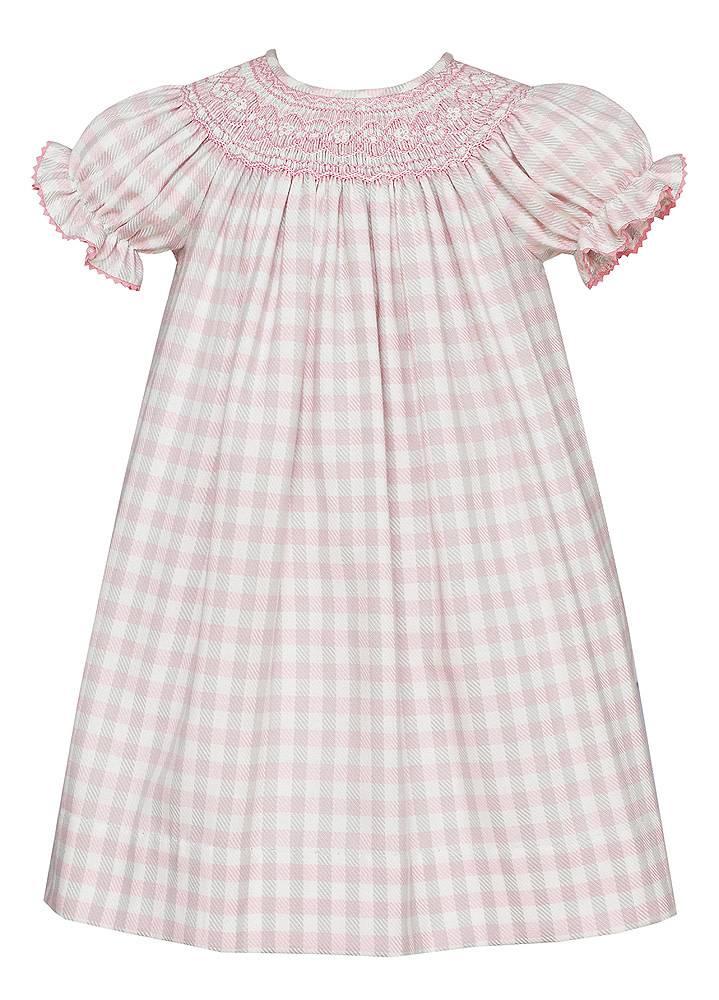 Anavini Short Sleeve Pink Plaid Bishop