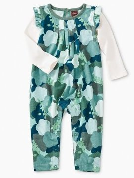 Tea Collection Floral Camo Layered Flutter Sleeve Romper