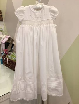 Sarah Louise Smocked Waist Christening Gown