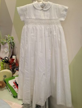 Sarah Louise Smocked Cotton Christening Gown
