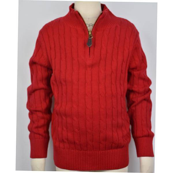 E.L.K. Red 1/4 Zip Cable Sweater