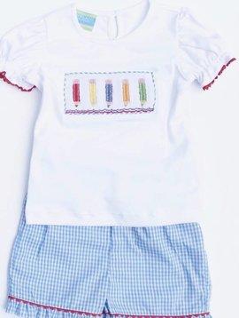Anavini Smocked Crayons Blue Gingham Set