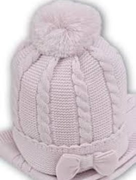 Sarah Louise Cable Knit Cap with Bow