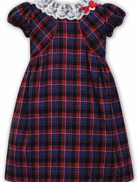 Sarah Louise Plaid Dress with Lace Collar