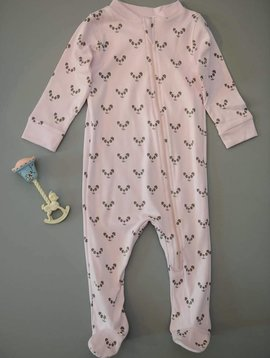 Feather Baby Pandas on Pink Zipper Footie