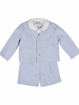Florence Eiseman Blue Stripe Seersucker Eton Suit