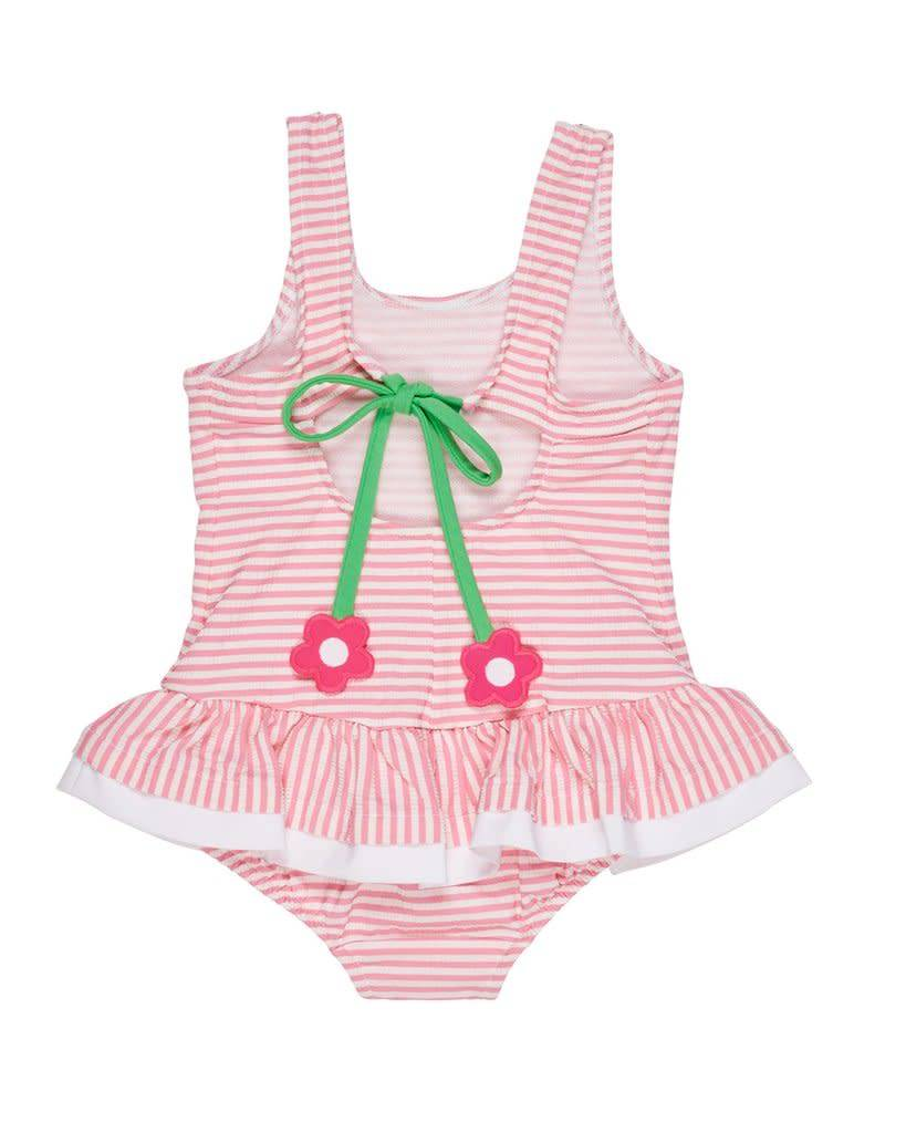 Florence Eiseman Pink Seersucker Swim Suit with Flowers