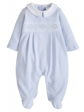 Little English Smocked Blue Footie
