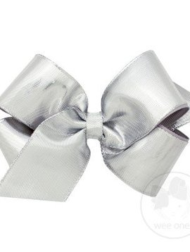 Wee Ones King Metallic Lame Silver Bow