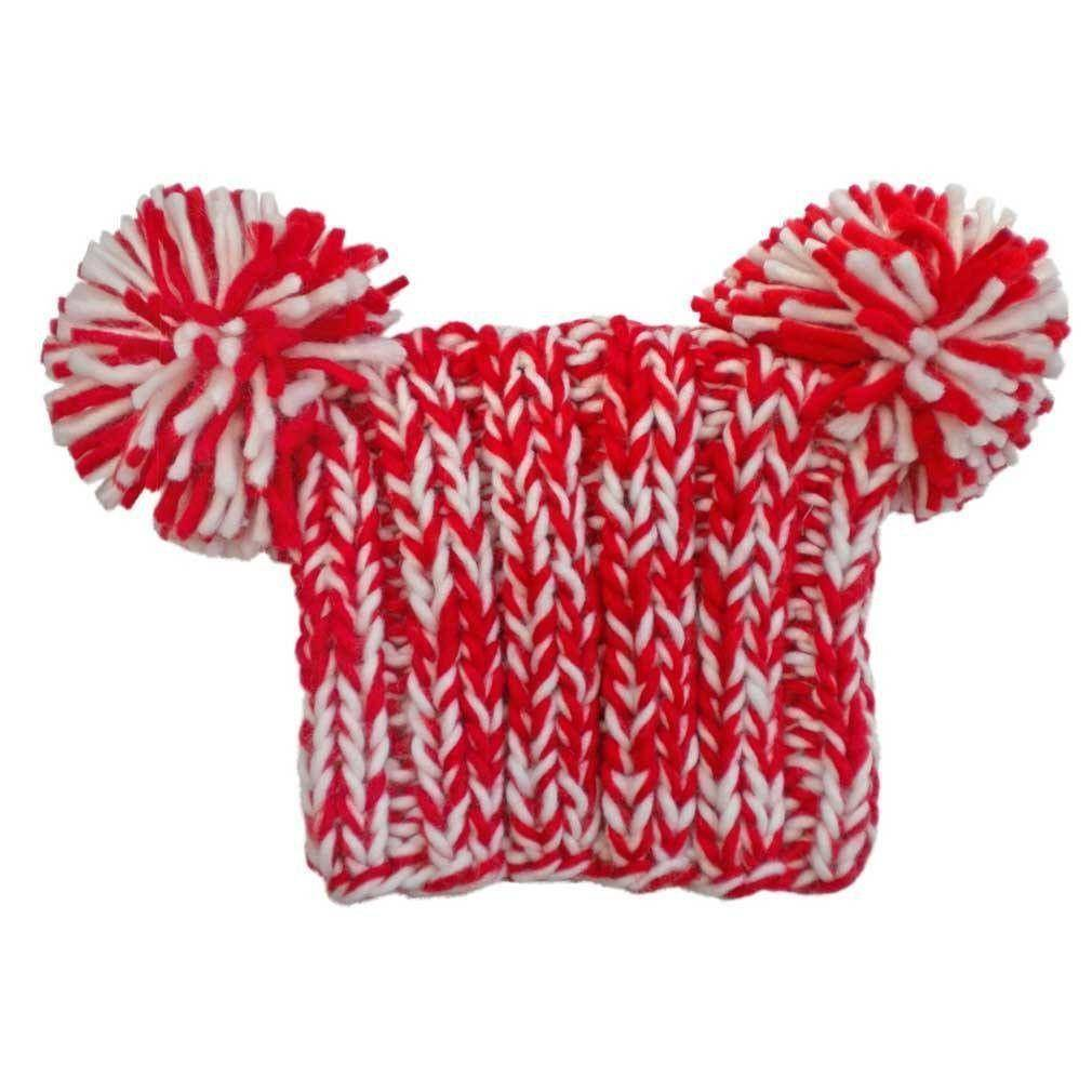 huggalugs Red and White Pom Pom Hat