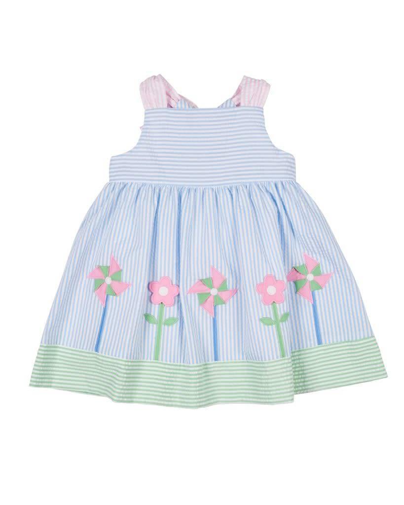 Florence Eiseman Blue/Pink/Green Seersucker Flowers Dress
