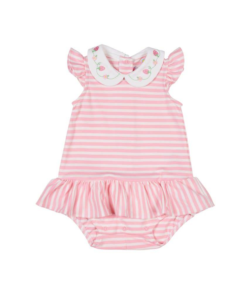 Florence Eiseman Pink Stripe Strawberry Romper