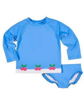 Florence Eiseman Blue Cherries Suit with Rashguard